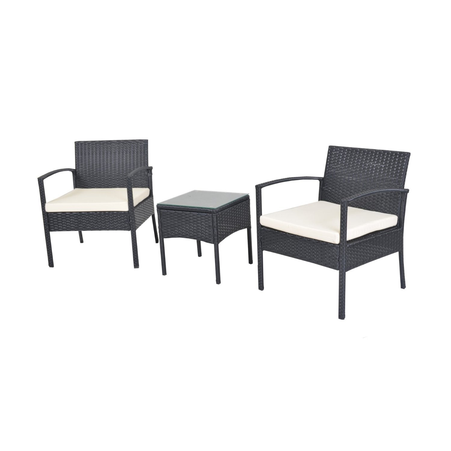 White Cushioned Coffee Table Patio Set