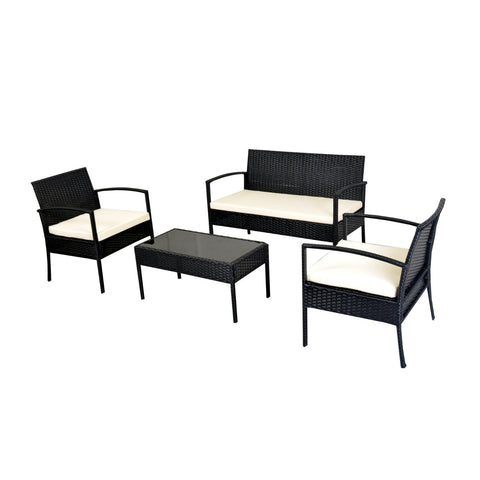 Rattan Wicker Coffee Table Garden Patio Furniture Set