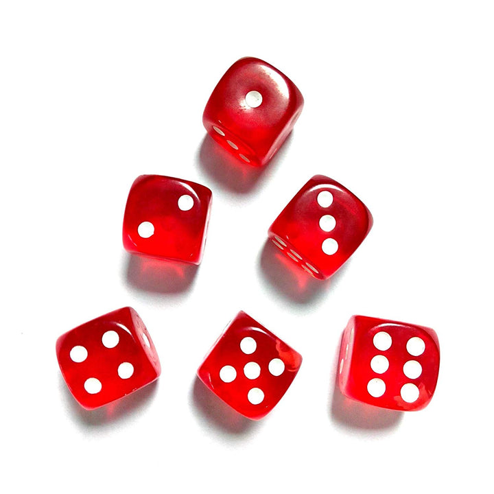 IDS RED SQUARE DICE W/WHITE PIPS 16MM (6 TOTAL)