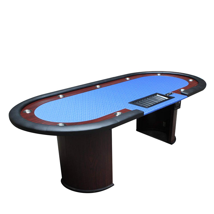 96 Inches Luna Poker Table With Cup Holders Racetrack Red Speed Cloth