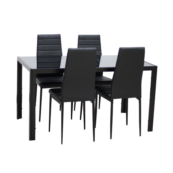5-Piece Home Dining Kitchen Furniture Set with Glass Top Metal Leg & Frame, Black - IDS Online Shop