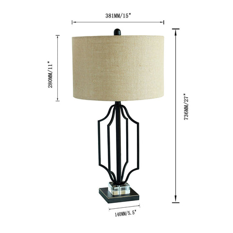 Modern Matt Black Gold Highlight Table Lamp