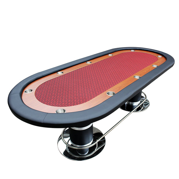 "96"" Texas Hold'em Oval Poker Table 10 Players With Wooden Racetrack Cup Holders-Two Tone Felt"