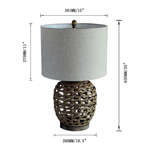 Natural Rattan Round Table Lamp with Antique Wood Base