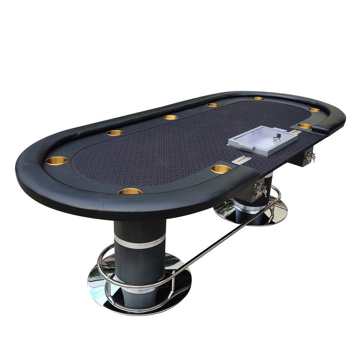 96 Dark Knight #49 Plus Poker Table With 500 Metal Chip Trays Jumbo Size Cupholder Speed Cloth Two Drop Boxes