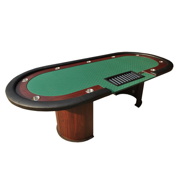 "96"" Texas Hold'em Wooden Legs Poker Table With Drop Box"