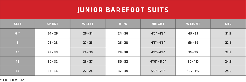 Junior's Barefoot Suits - Size Guide