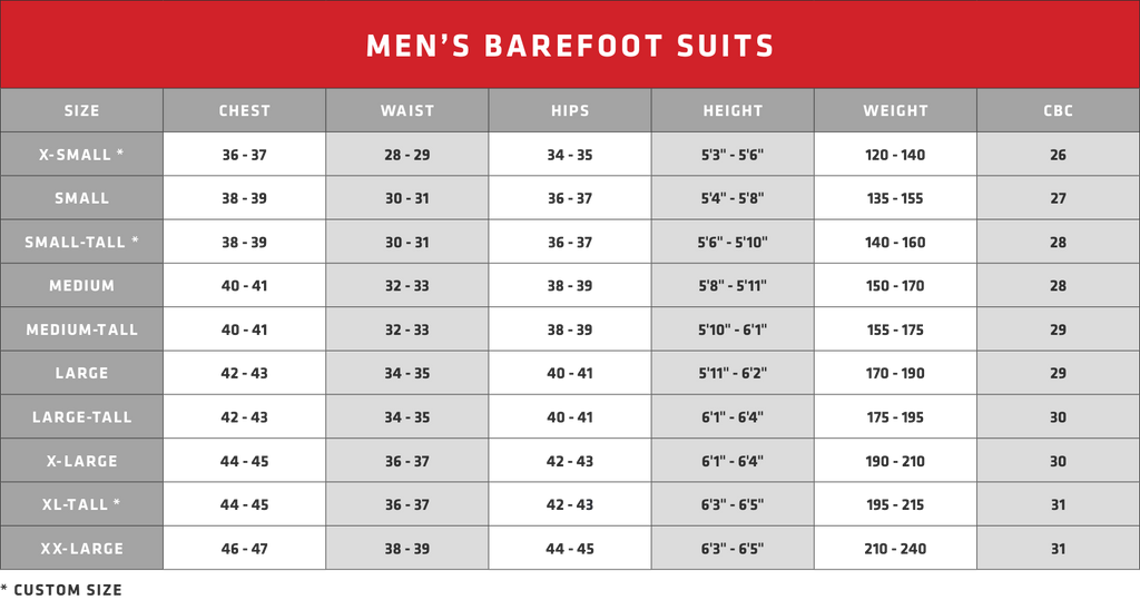 Men's Barefoot Suits - Size Guide