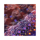 Commuter Fish Silk Crepe De Chine Shawl in Purple