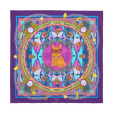 The French Bulldog with Race Car Silk Shawl in Purple