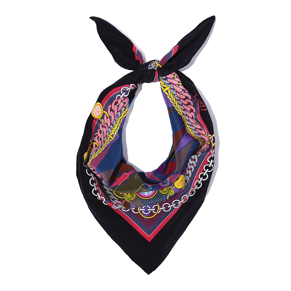 The French Bulldog Silk Crepe De Chine Neckerchief in Black