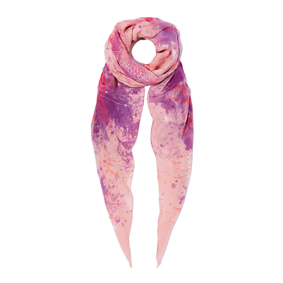 Greek Peony Silk Crepe De Chine Shawl in Pink