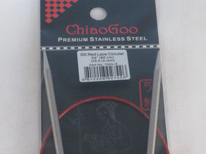 "Chiaogoo Red Lace US 8 (5 mm) circular needles (24"")"