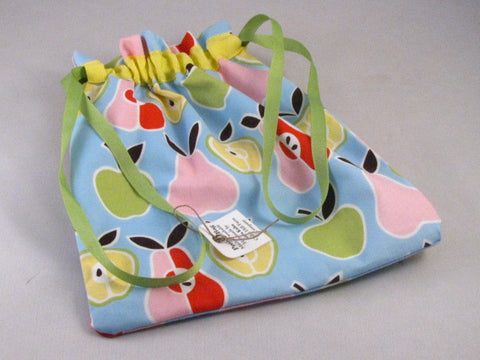 "Apples & Pears (yellow band) Hand Sewn Self-locking Project Bag (8"" x 10)"