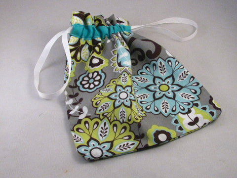 "Lime/Teal/Brown Floral Hand Sewn Self-locking Project Bag (8"" x 10)"