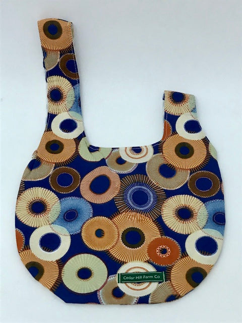 Reversible Japanese Knot Bag (Large) -- Royal Blue/Orange Circles -- 10.5