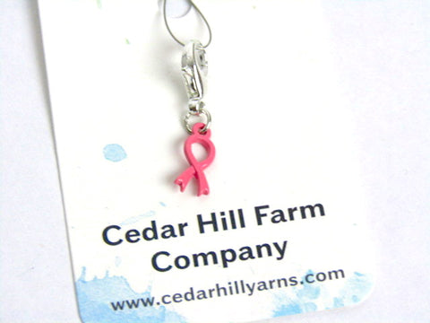 Breast Cancer Ribbon Mini (enamel finish) -- Pink -- Project Keeper & Zipper Pull