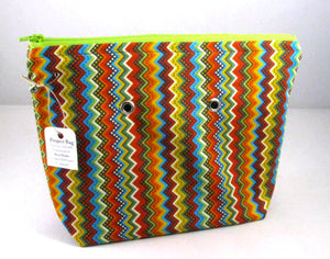 "Chevron Multi (lime zipper) -- Handsewn Project Bag with Grommets (7"" x 9"")"