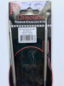 "Chiaogoo Red Lace US 9 (5.5 mm) circular needles (24"")"