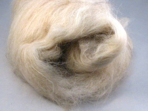 Cream Llama & Shetland Wool -- Undyed -- Drum Carded Batt (1.6 oz)