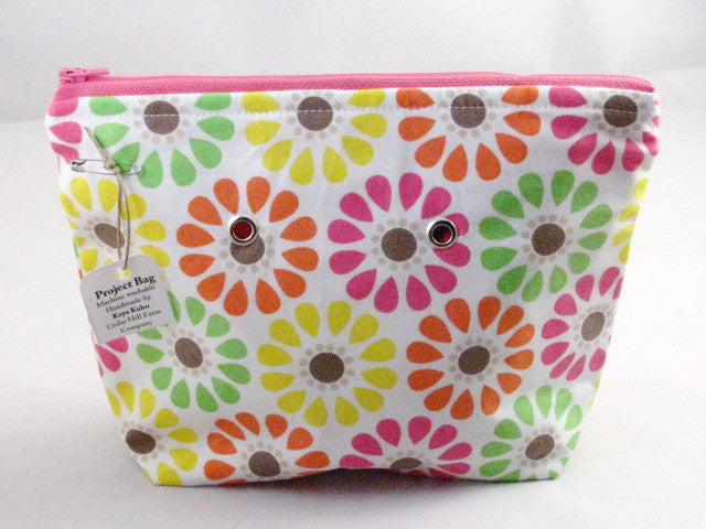 "Day-Glo Daisies (pink zipper) Handsewn Project Bag with Grommets (7"" x 9"")"