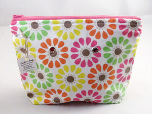 "Day-Glo Daisies (pink zipper) -- Handsewn Project Bag with Grommets (7"" x 9"")"
