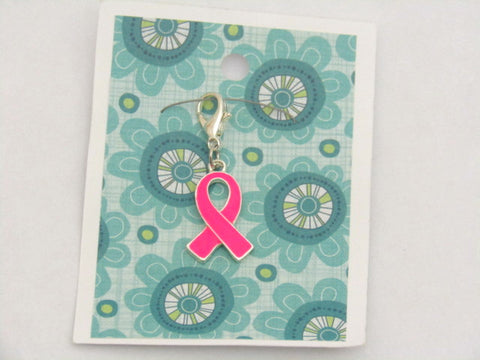 Breast Cancer Ribbon (enamel finish) -- Flourescent Pink -- Project Keeper & Zipper Pull
