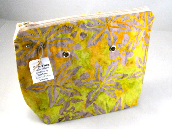 Batik Geometric (Yellow/fawn) -- Handsewn Project Bag with Grommets (7