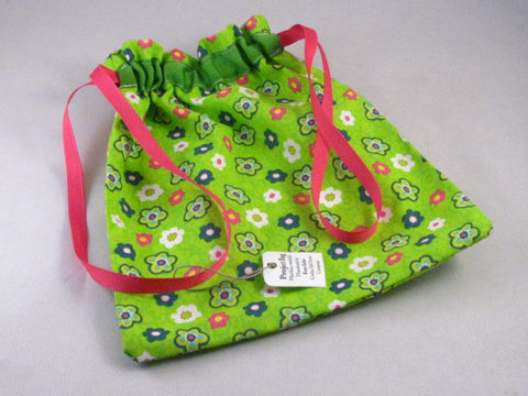 "Lime & Pink Floral Hand Sewn Self-locking Project Bag (8"" x 10)"