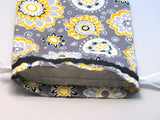 "Yellow/Black/Grey Floral Hand Sewn Self-locking Project Bag (8"" x 10)"