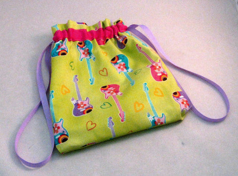 "Pastel Guitars Hand Sewn Self-locking Project Bag (8"" x 10)"