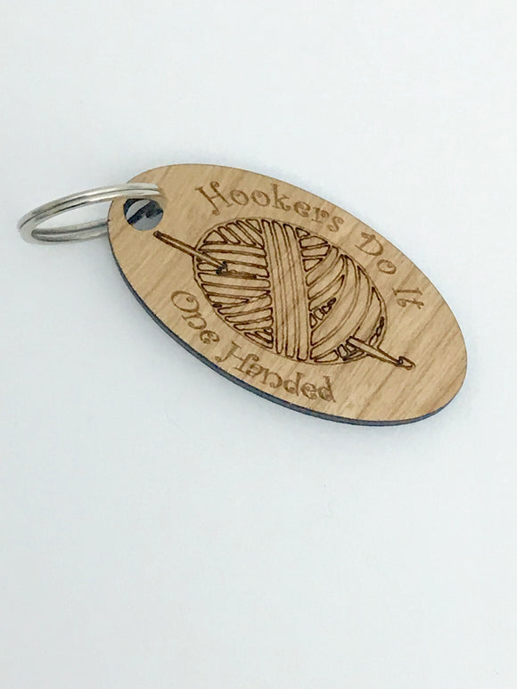 Hookers Crochet Keychain -- Laser Engraved Wood