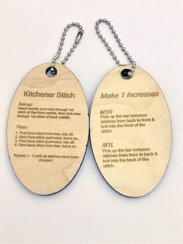 Kitchener Stitch & M1 Instructions Keychain -- Laser Engraved Cherry