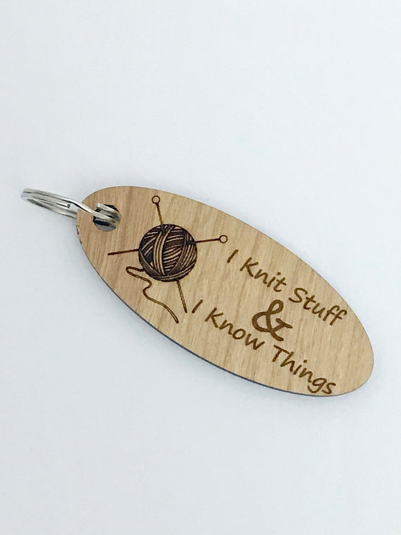 Knit Stuff & Know Things Keychain -- Laser Engraved Wood