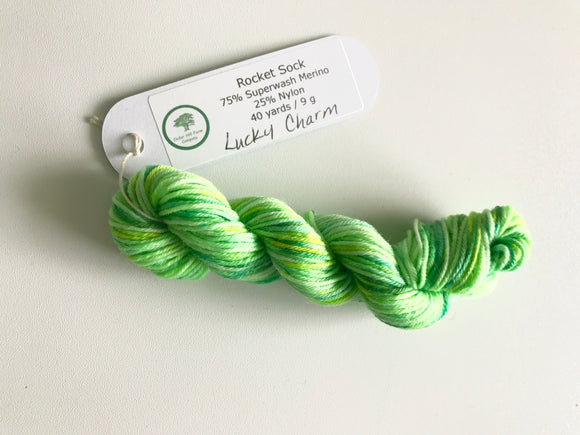 Lucky Charm -- Individual Rocket Sock Mini Skein -- Superwash Merino/Nylon Fingering