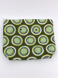 "Olive Circles -- Handsewn Project Bag with Grommets (7"" x 9"")"