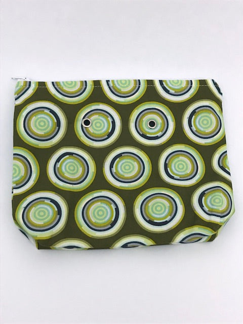 Olive Circles -- Handsewn Project Bag with Grommets (7