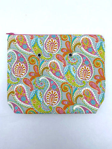 "Paisley  (pink zip)  -- Handsewn Project Bag with Grommets (7"" x 9"")"