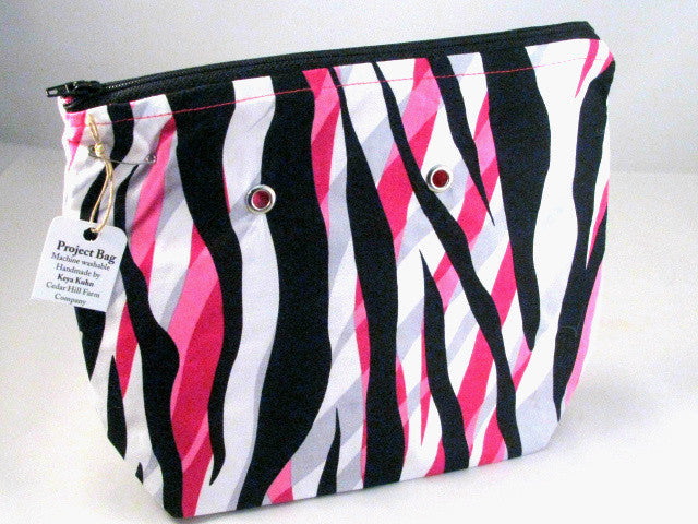 "Pink Zebra Hand Sewn Project Bag with Grommets (7"" x 9"")"