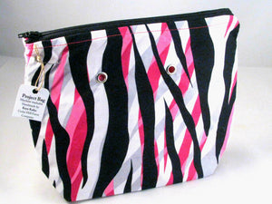"Pink Zebra --Handsewn Project Bag with Grommets (7"" x 9"")"