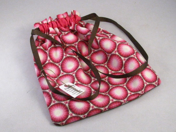 Pink/Brown Circles Hand Sewn Self-locking Project Bag (8