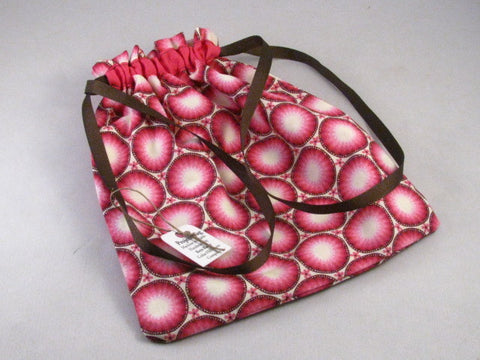 "Pink/Brown Circles Hand Sewn Self-locking Project Bag (8"" x 10)"