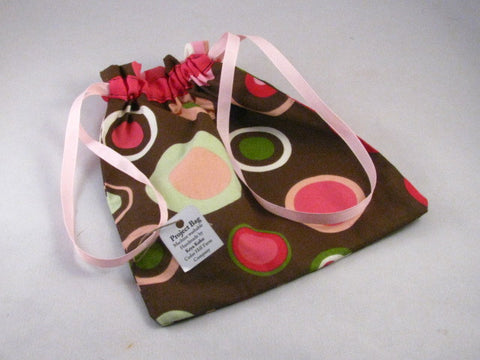 "Pink/Brown/Green Circles Hand Sewn Self-locking Project Bag (8"" x 10)"