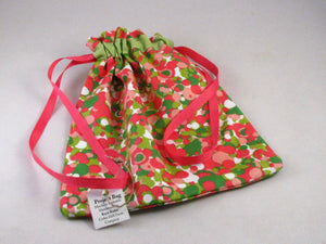 "Pink & Green Dots Hand Sewn Self-locking Project Bag (8"" x 10)"
