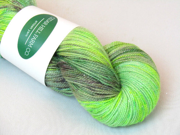 Pomona Sprout -- 2-ply Superwash Merino/Nylon/Silver Stellina -- Sparkle Sock