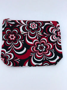 "Black/Red/White Floral -- Handsewn Project Bag with Grommets (7"" x 9"")"