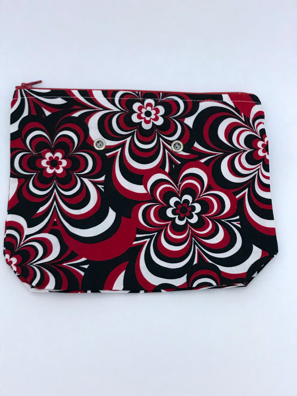 Black/Red/White Floral -- Handsewn Project Bag with Grommets (7