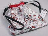 "Red/Black/White Floral Hand Sewn Self-locking Project Bag (8"" x 10)"