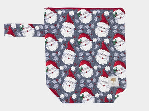 "Santas -- Hand Sewn Sweater Project Bag with Handle  -- 13"" x 15"""