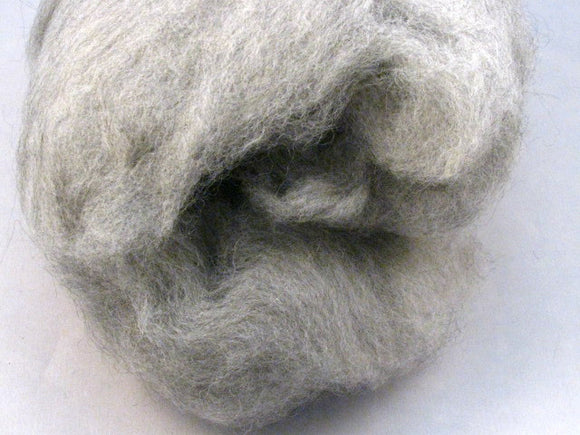 Silver Alpaca Drum Carded Spinning Fiber (2.1 oz)